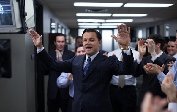 Картинка костюм, офис, Leonardo DiCaprio, The Wolf Of Wall Street, Лео ДиКаприо