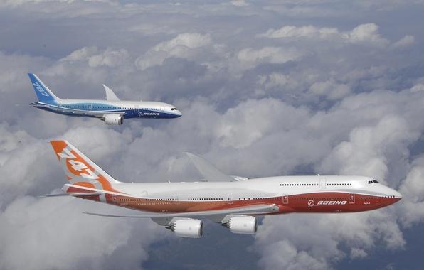 Картинка Небо, Облака, Самолет, Самолеты, Полет, 787, Boeing, Высота, Боинг, 747, Intercontinental, Dreamliner