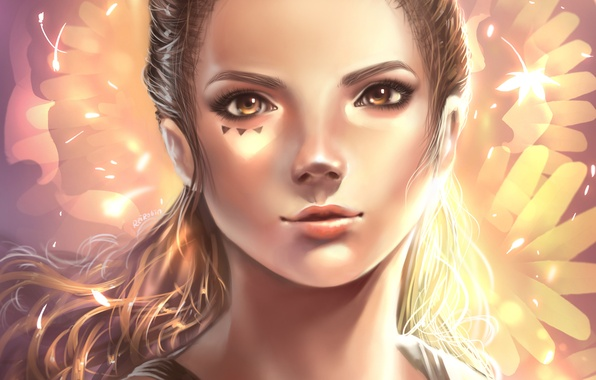 Картинка девушка, абстракция, лицо, портрет, тату, арт