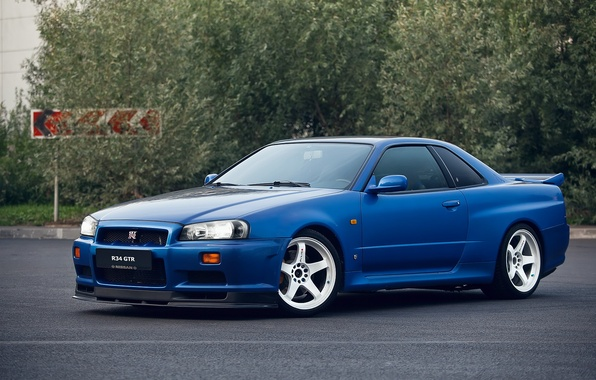 Картинка GTR, Nissan, Blue, Skyline, R34, V-SPEC