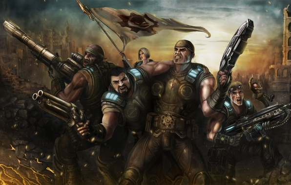 Картинка город, война, арт, руины, gears of war, marcus fenix, Damon S. Baird, Microsoft Game Studios, …