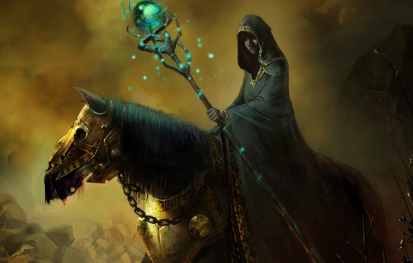 Картинка конь, плащ, капюшон, арт, маг, магия, броня, посох, колдун