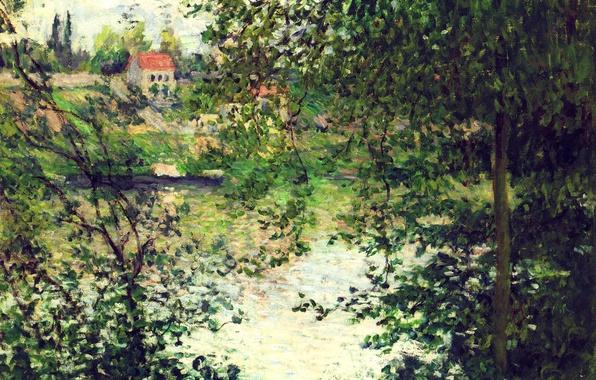 Картинка пейзаж, река, картина, Сена, Клод Моне, Остров Гранд-Жат Сквозь Деревья
