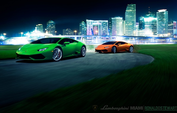Картинка мост, city, город, green, скорость, Lamborghini, поворот, front, orange, brige, LP 610-4, Huracan, LB724
