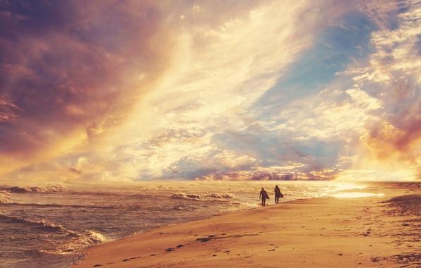 Картинка песок, море, волны, пляж, небо, люди, берег, горизонт, серфинг, прогулка
