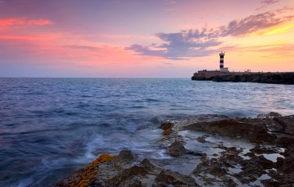 Картинка море, волны, небо, вода, облака, пейзаж, закат, природа, скалы, краски, берег, colors, waves, sky, sea, …