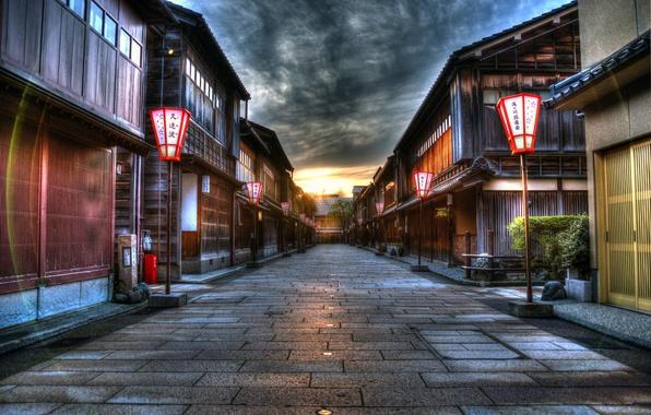 Картинка закат, город, улица, HDR, дома, Япония, фонари
