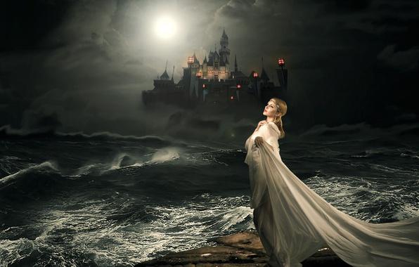 Картинка море, девушка, ночь, замок, сказка