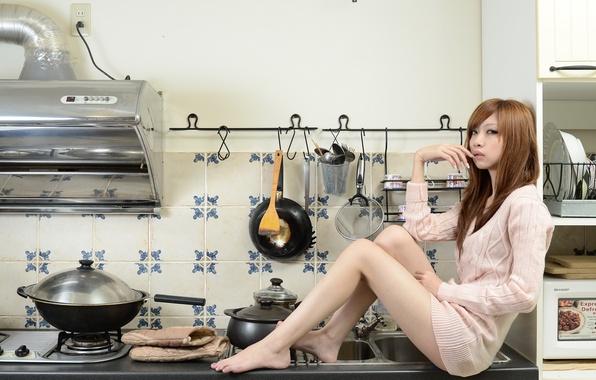 Картинка девушка, кухня, азиатка