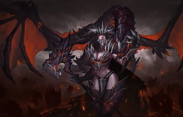 Картинка взгляд, фантастика, дракон, крылья, арт, демоница