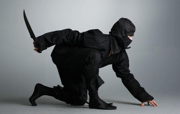 Картинка нож, кинжал, ниндзя, ninja, shinobi, черный костюм