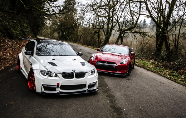 Картинка Красный, Дорога, Осень, Белый, BMW, Тюнинг, БМВ, Ниссан, GTR, Nissan, E92, R35