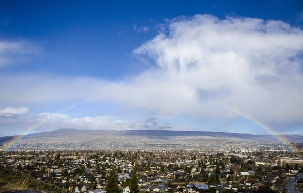 Картинка небо, облака, деревья, холмы, дома, радуга, долина, посёлок
