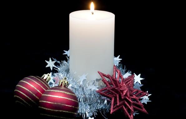 Картинка праздник, чёрный, шары, новый год, рождество, свеча, звёздочки, christmas, new year