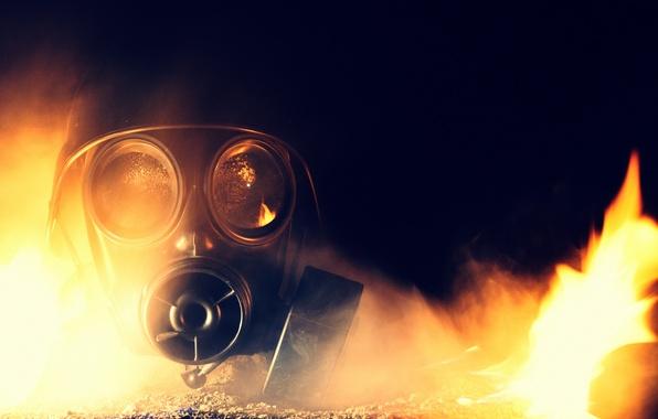 Картинка фон, пламя, противогаз, каска