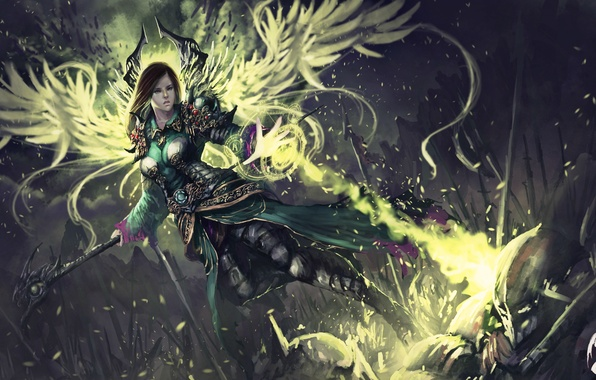 Картинка взгляд, девушка, оружие, фантастика, магия, доспехи, арт, броня