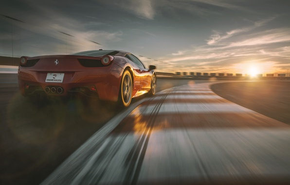 Картинка Ferrari, Red, Sky, 458, Sun, Racing, Italia, Supercar, Dream, Track, Rear