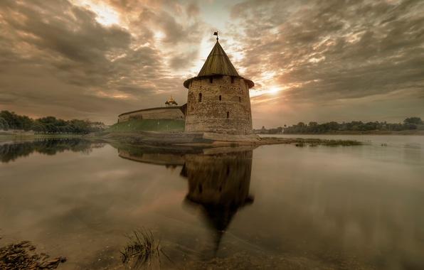 Картинка осень, рассвет, Россия, Псков