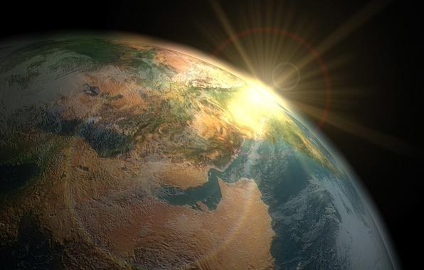 Картинка земля, вид из космоса, восход солнца