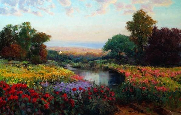 Фото обои цветы, картина, масло, арт, деревья, озеро, Eric Wallis, луг, небо, пейзаж
