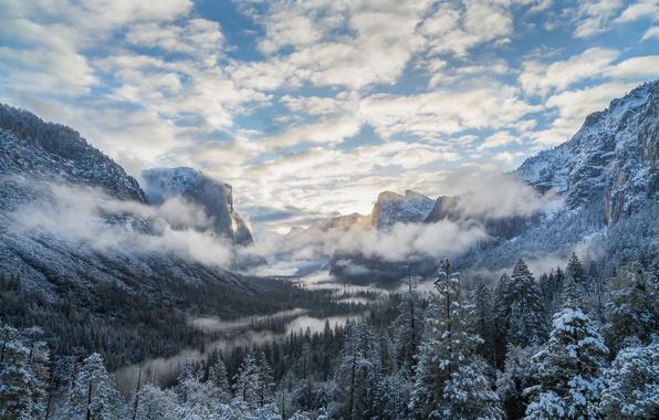 Картинка зима, лес, облака, горы, долина, Калифорния, Йосемити, California, Национальный парк Йосемити, Yosemite National Park, Сьерра-Невада, …