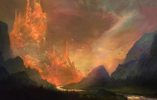 Картинка горы, птицы, город, река, скалы, долина, фэнтези, арт, призрачный