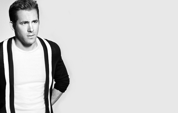 Картинка актер, черно-белое, мужчина, Ryan Reynolds