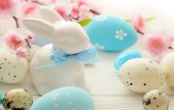 Картинка цветы, яйца, кролик, Пасха, flowers, spring, Easter, eggs