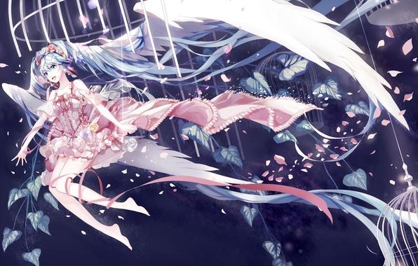 Картинка девушка, радость, цветы, качели, крылья, клетка, аниме, лепестки, арт, vocaloid, hatsune miku, amatsukiryoyu