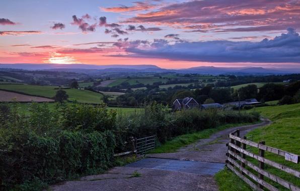 Картинка дорога, пейзаж, закат, мост
