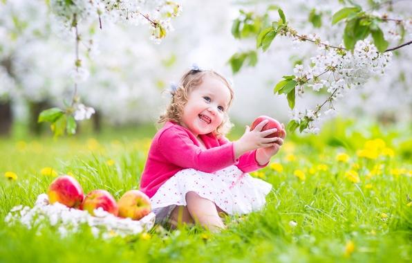 Картинка радость, цветы, ребенок, весна, grass, травка, flowers, spring, baby, цветущие деревья, joy, flowering trees