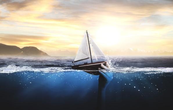 Картинка море, лодка, рука