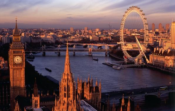 Картинка небо, облака, тучи, мост, река, лодка, часы, здания, высота, дома, лондон, лодки, Город, колесо, london, …