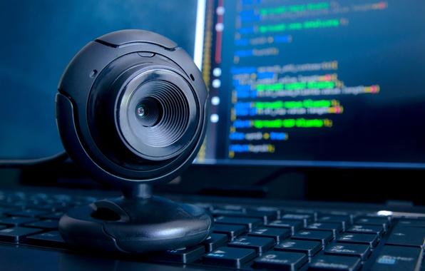 Картинка компьютер, макро, стол, камера, размытость, рабочий, клавиатура, монитор, hi-tech, боке, веб, wallpaper., technology, обмен, данных
