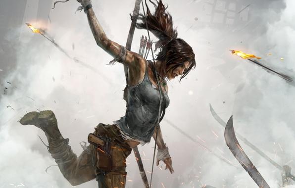 Картинка девушка, пистолет, оружие, огонь, кровь, волосы, дым, рисунок, лезвия, ботинки, бой, лук, удар, Tomb Raider, ...