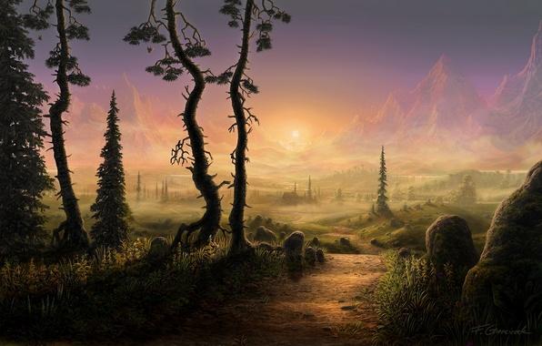 Картинка дорога, солнце, деревья, пейзаж, горы, туман, камни, ель, утро, арт, дорожка, домик, тропинка, Fel-X