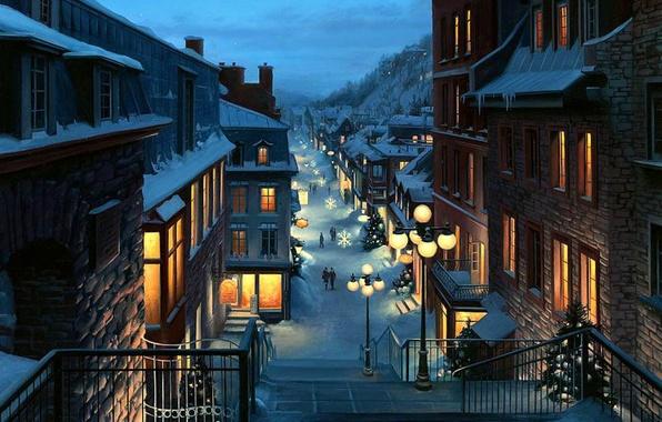 Картинка пейзаж, снежинки, city, город, lights, огни, улица, елки, вечер, Канада, Рождество, фонари, переулок, Canada, живопись, …