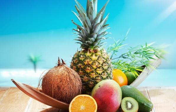 Картинка фон, обои, апельсин, еда, кокос, киви, wallpaper, фрукты, ананас, широкоформатные, background, полноэкранные, HD wallpapers, широкоэкранные