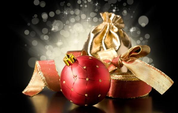Картинка красный, ленты, фон, подарок, черный, игрушки, шар, шарик, Новый Год, Рождество, золотой, бант, Christmas, праздники, …