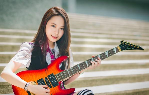 Картинка девушка, гитара, азиатка