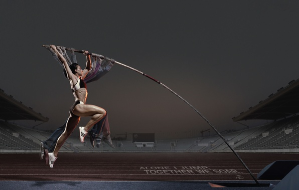 Картинка девушка, прыжок, реклама, спортсменка, адидас, шест, Прыжок с шестом
