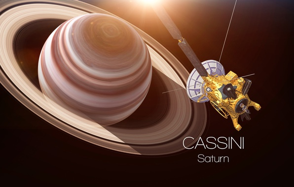 Фото обои Cassini, satellite, Saturn