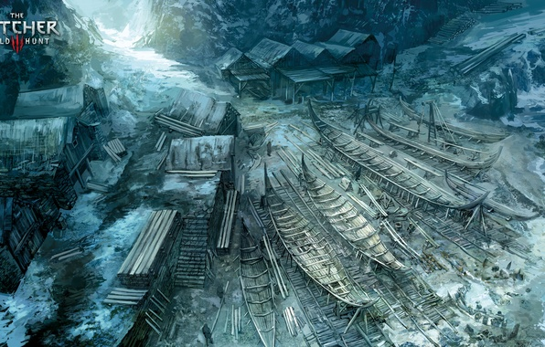 Картинка море, дом, берег, лодка, деревня, арт, witcher, The Witcher 3: Wild Hunt, Ведьмак 3: Дикая ...