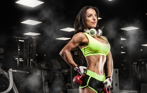 Картинка pose, female, fitness, Russian dumbbell, music headphones