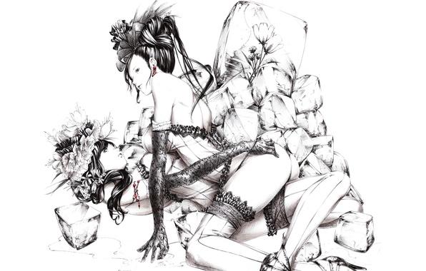 Картинка лед, цветы, черно-белый, рисунок, Девушки, чулки, перчатки, кружево, art, корсеты, Sawasawa