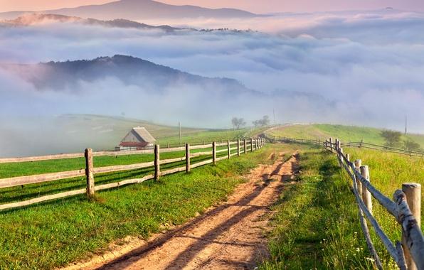 Картинка дорога, трава, горы, туман, деревня, landscape, nature, луга, countryside