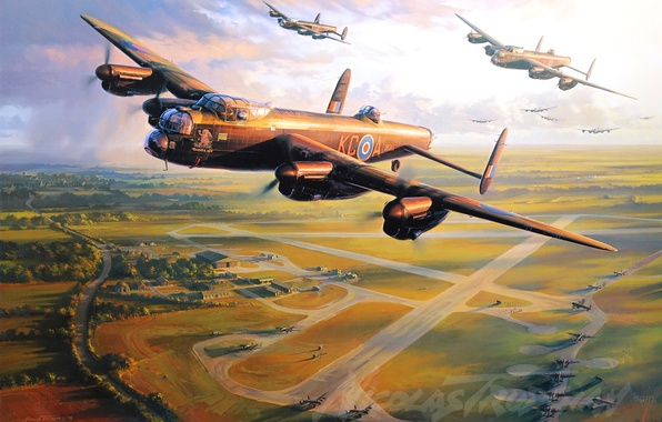 Картинка aircraft, war, art, airplane, aviation, ww2, dogfight, avro lancaster