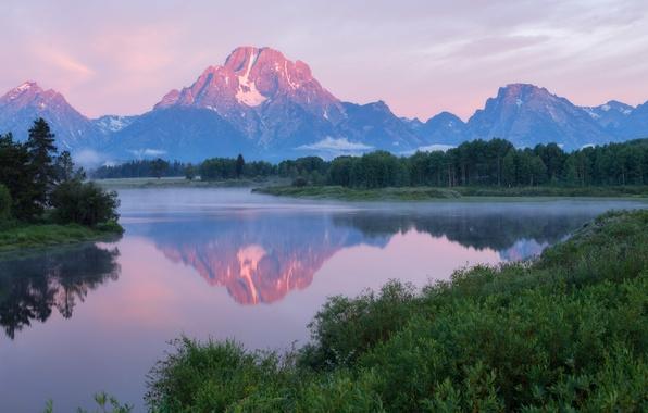 Картинка лес, небо, вода, облака, деревья, горы, туман, отражение, река, утро, США, национальный парк, Гранд-Титон, штат …