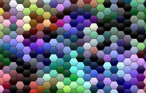 Картинка мозаика, абстракция, фон, обои, цвет, текстура, соты, объем, Шестиугольник