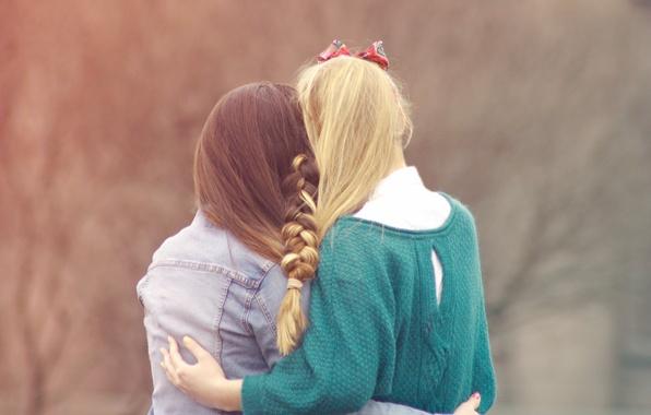 Картинка девушки, блондинка, коса, шатенка